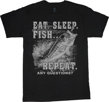 Eat Sleep Fish Funny Fishing T-Shirt Gift for Men Bass Cotton O-Neck Short Sleeve Mens T Shirt New Size S-3XL