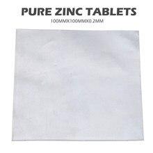 Placa de folha de zinco 99.9% puro, 1 peça, placa zn de zinco 100mm x 100mm x 0.2mm para a ciência acessórios do laboratório