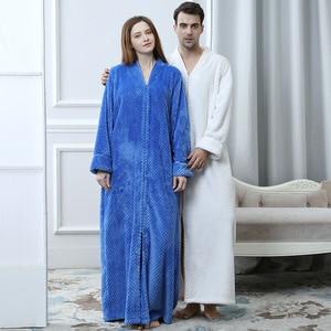 Image 3 - 女性エクストラロングプラスサイズ厚く暖かい Sleepshirts 男性冬サンゴフリースジッパーナイトガウン妊婦ローブフランネルナイトドレス