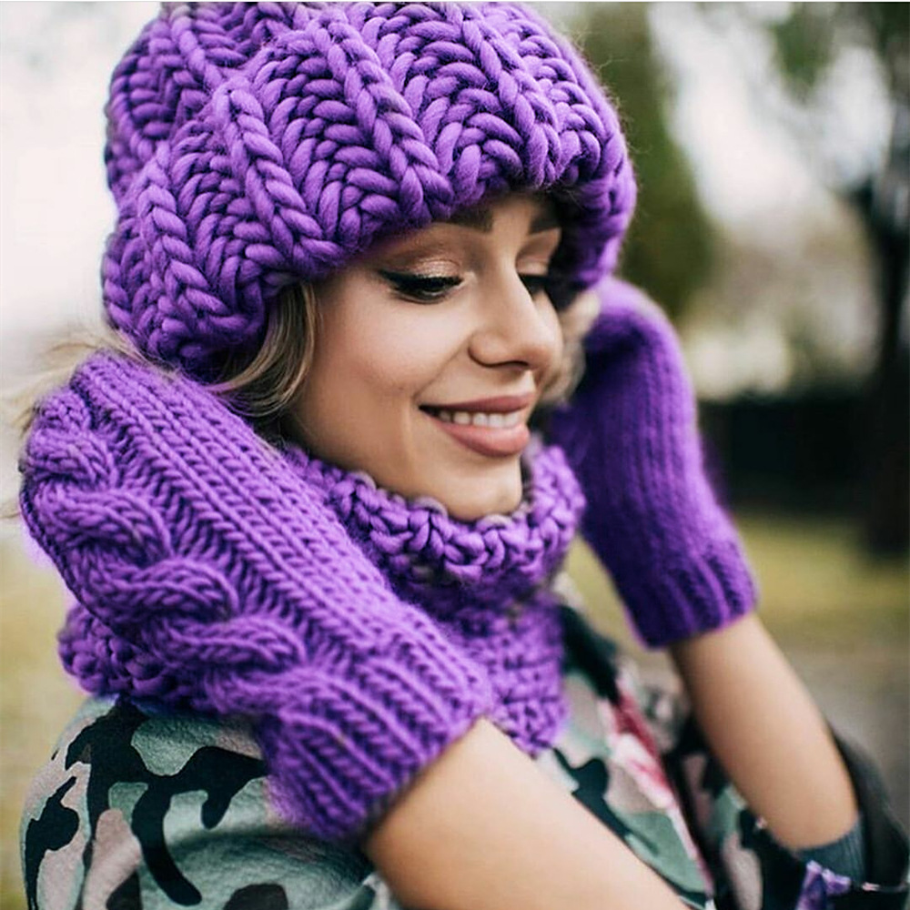 Women Winter Knitted Beanies Hat Thick Soft Warm Coarse Large Knitted Solid Hat Female Ice Ski Bonnet Skullies Beanies Hat Cap 202