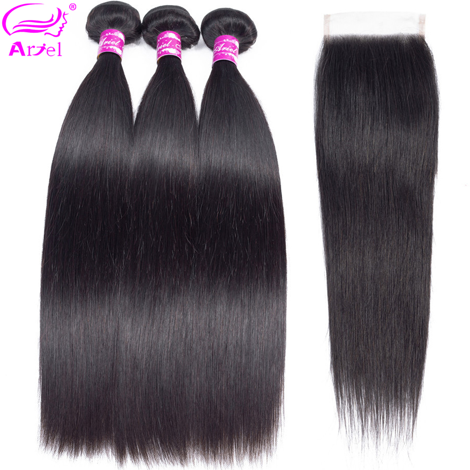 Straight Hair Bundles With Closure 28 30 Inch Brazilian Hair Weave 3 Bundles With Closure Remy