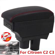 Подлокотник для Citroen C2 C3, зарядка через USB, двухслойная Центральная пепельница с контейнером для хранения, аксессуары