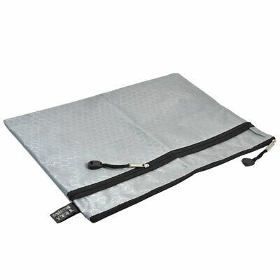 Portable Rectangle Gray Nylon Hexagon Print 2 Slots A4 Paper Files Storage Bag