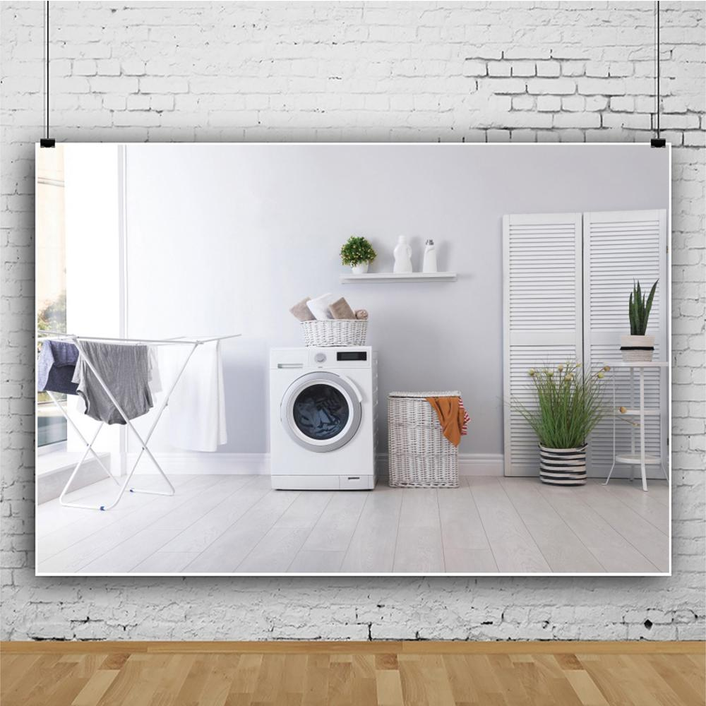 Laeacco Living Room Warm Decor Automatic Washing Machine Laundry