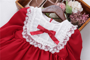 Image 3 - baby girl red dress long sleeve lace vintage retro kids dresses for girls clothes christmas princess children clothes autumn