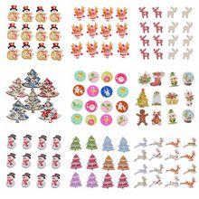 50 шт. рождественские деревянные пуговицы для одежды Navidad Снеговик Rinedeer круглые пуговицы для шитья детей DIY рукоделие Новинка