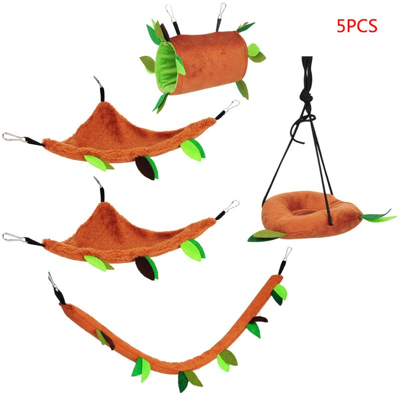 Plush Small font b Pet b font Toy Hanging Forest Leaf Swing Hammock Ropeway Hamster Cage