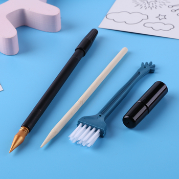 Scratch Painting Tools Kids Toy Scraping Drawing Sketch Art DIY Crafts Scraper Pen Black Brush Stick Paper Boards Kit for Child image