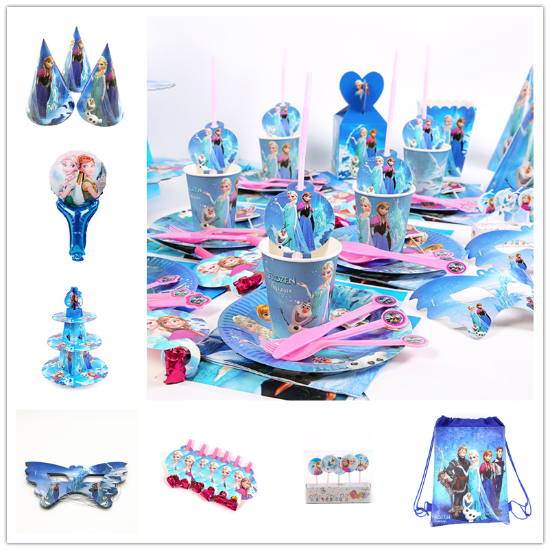 Frozen Disney Kids Girls Favor Birthday Pack Event Party Decoration Cups Plates Baby Shower Disposable Tableware Supplies