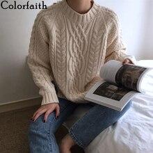 Colorfaith женские Свитера Осень Зима пуловеры Теплые минималистичные корейский стиль модные повседневные однотонные свободные топы SW7033
