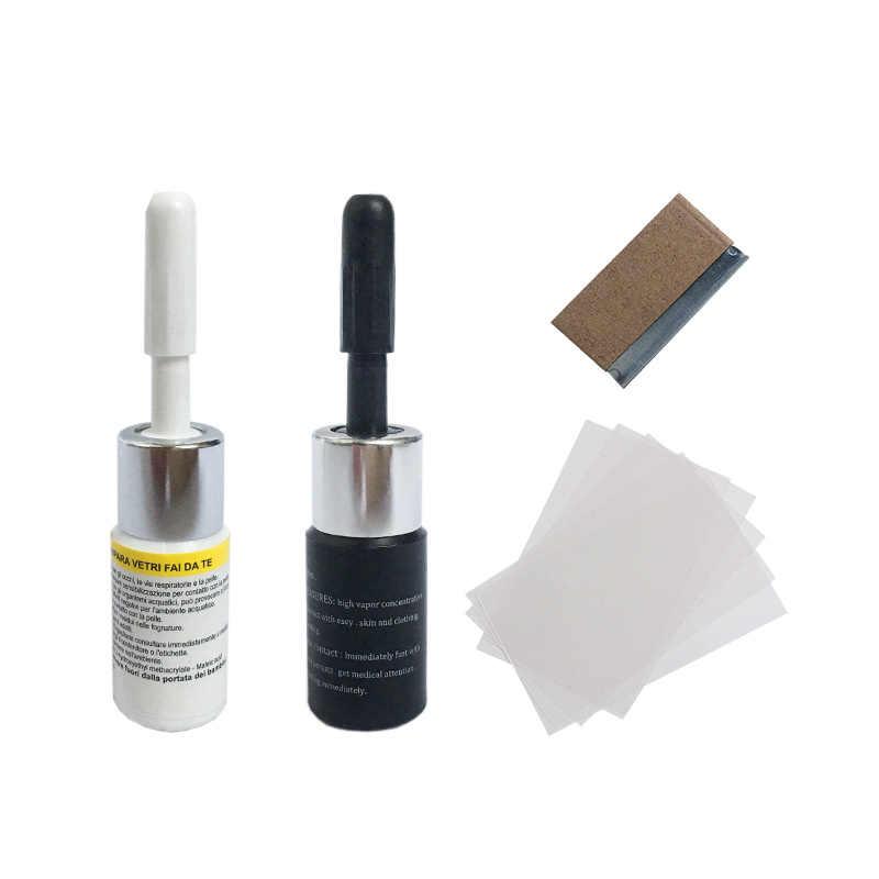 Ferramenta de reparo do pára-brisa do carro diy ferramentas de reparo da janela pára-brisas vidro risco crack restaurar tela da janela resina + lâmina tiras