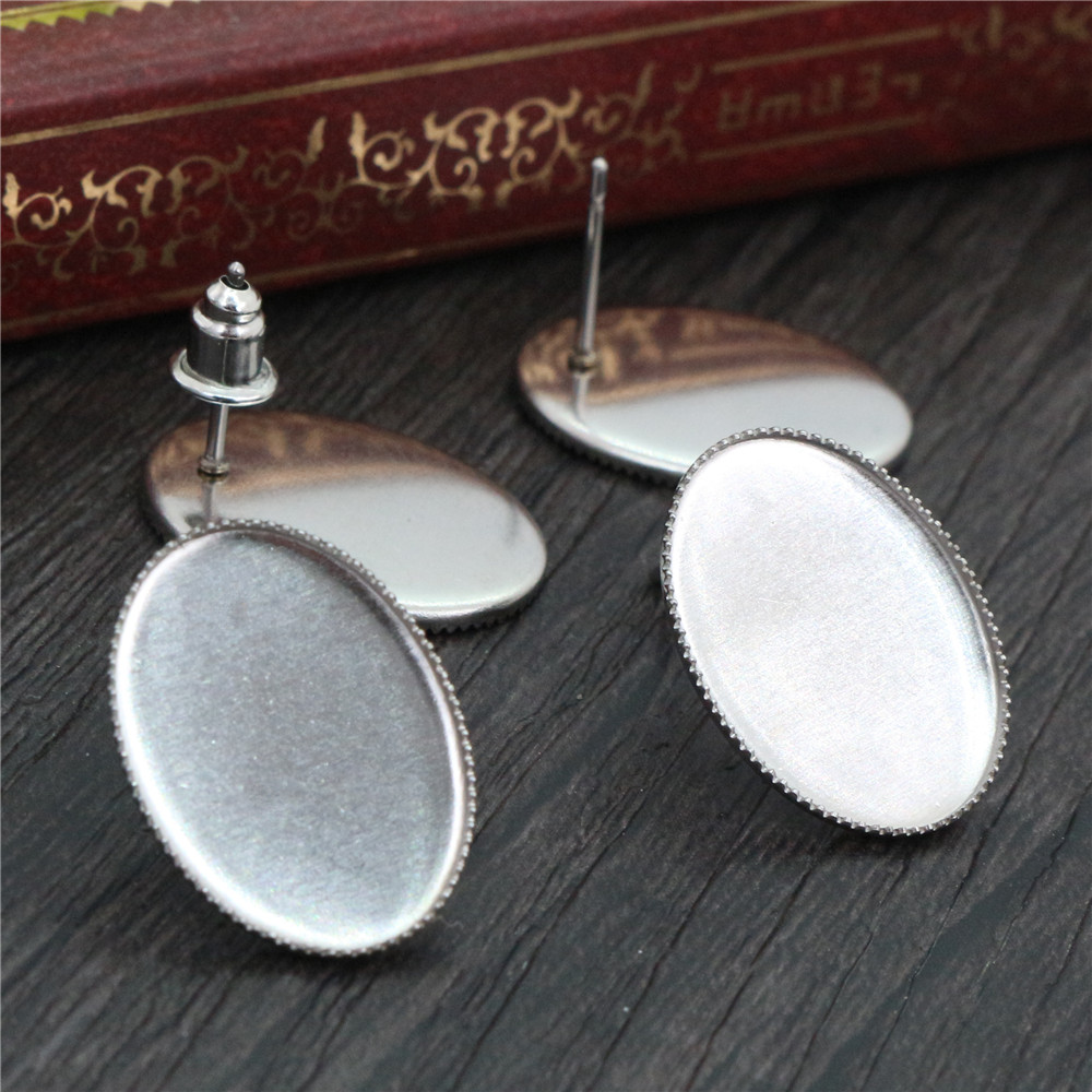 ( No Fade ) 13x18mm 20pcs/Lot 316 Stainless Steel Oval Earring Studs,Earrings Blank/Base,Fit 13*18mm Oval Glass Cabochons-O3-37