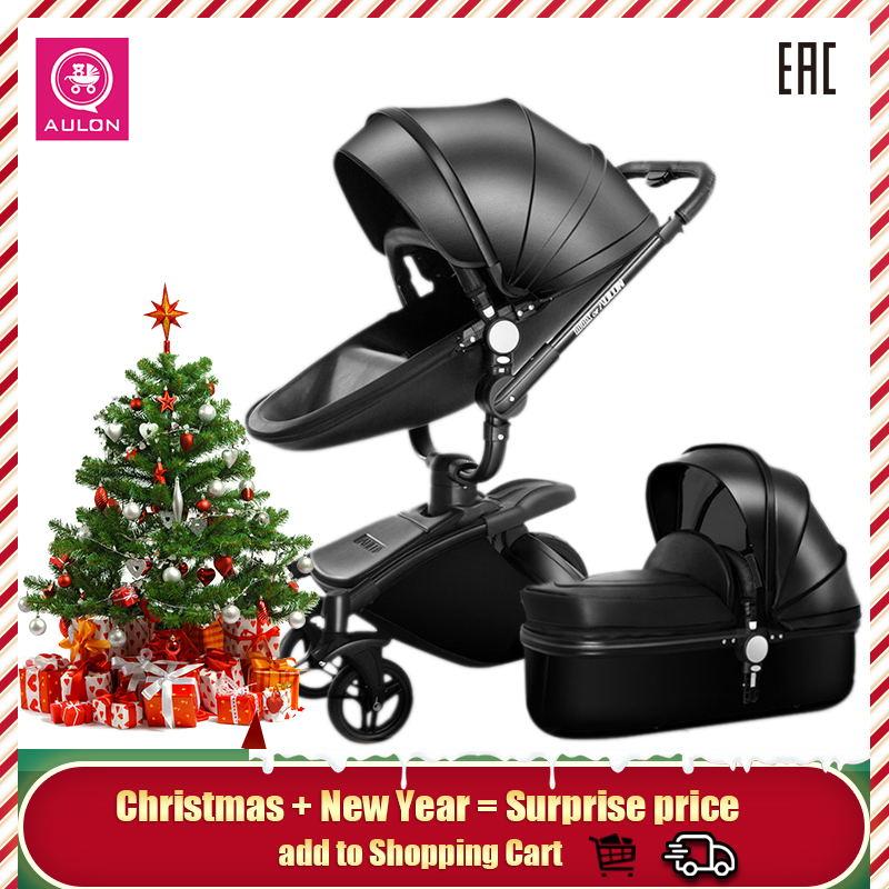 Aulon bébé poussette livraison gratuite cuir luxe bébé poussette 2 en 1 mode poussette européenne poussette pour couché et siège soutien-gorge