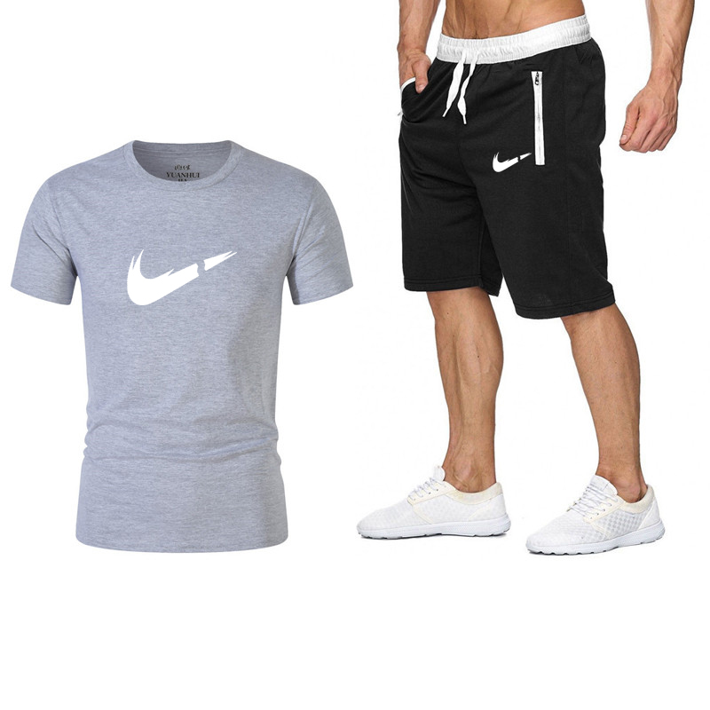 2019 New Brand Men Fashion Two Pieces Sets T Shirts+Shorts Suit Men Summer Tops Tees Fashion Tshirt High Quality Men Clothing