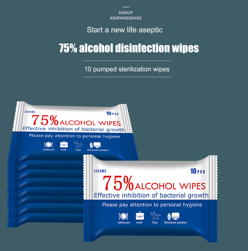 5 Pack/lot 75% Alcohol Wipes Household Hand Cleaning Disinfection Wipes Sterilization Wipes Antiseptic Wet Wipes
