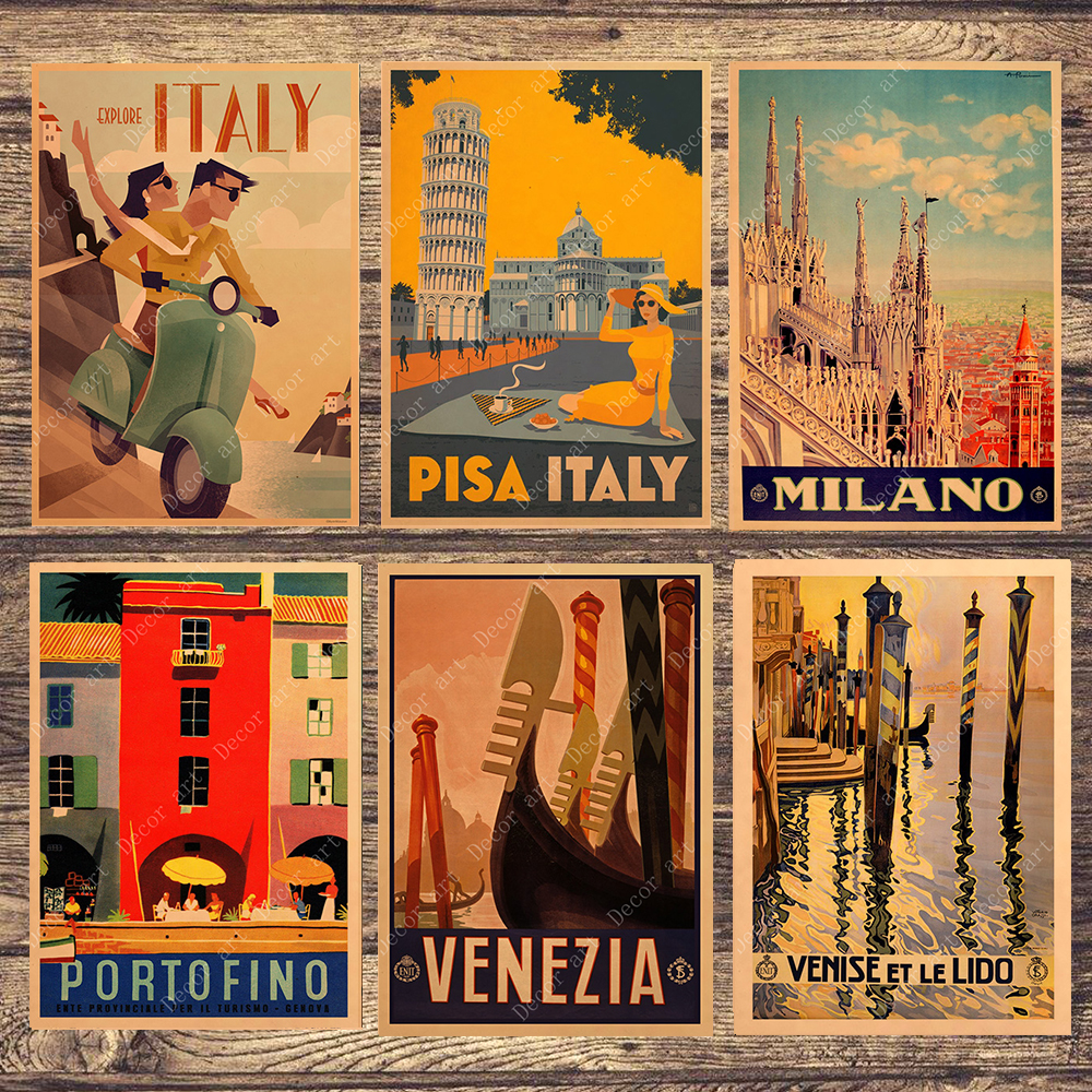 Travel To Italy Milano Venezia Canvas Painting Vintage Wall Pictures Kraft Posters Coated Wall Stickers Home Decoration Gift