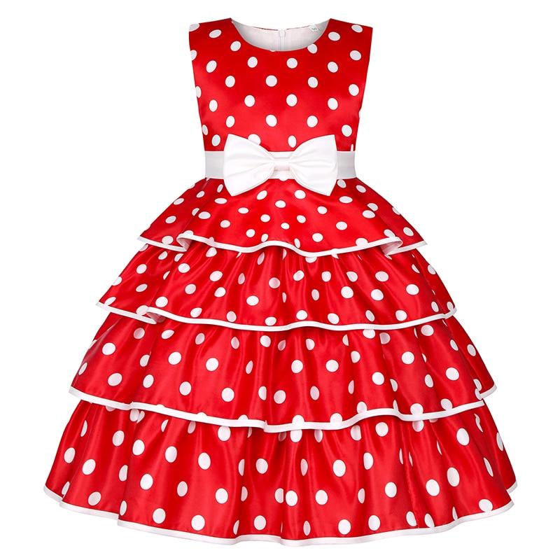 Princess Baby Girls Dot Flower Elegant Wedding Party Dresses Toddler Girl Christmas Vestidos Formal Dress Children Kids Clothing 1