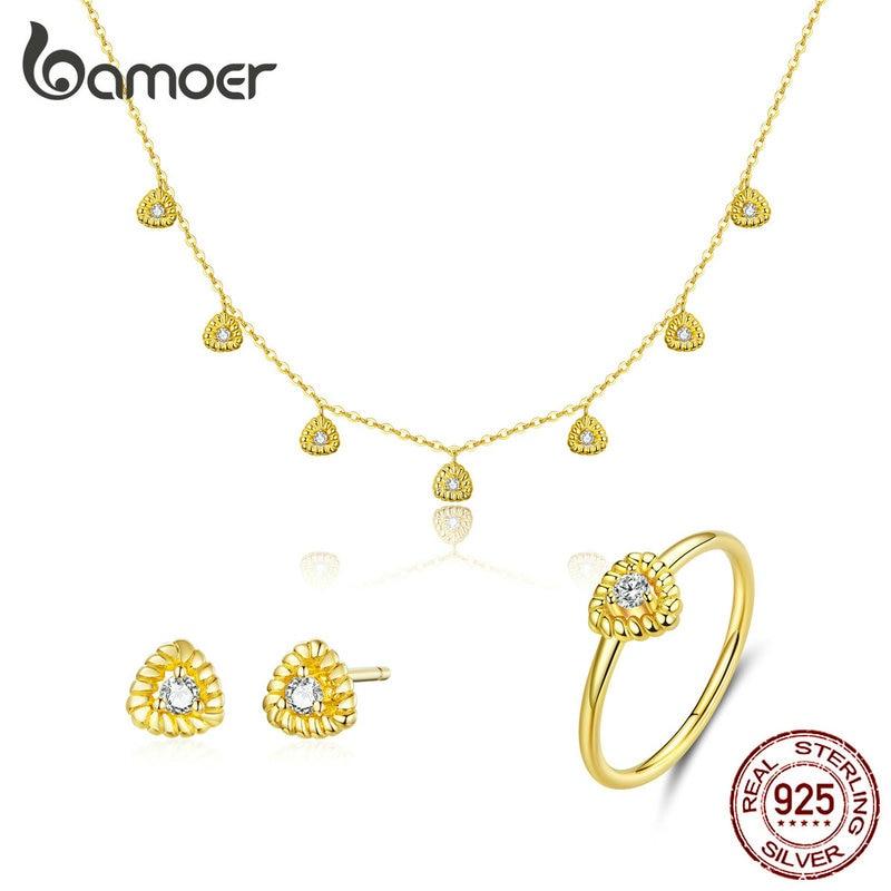 Bamoer or couleur argent 925 Bijoux nouvelle mode Triangle collier goujon oreille anneau ensembles de Bijoux pour femmes dame Bijoux ZHS169