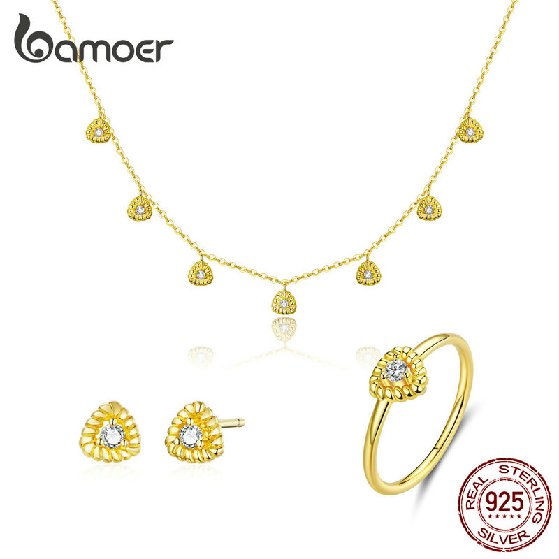 bamoer Gold Color Silver 925 Jewelry New Fashion Triangle Necklae Stud Earringd Ring Jewelry Sets for Women Lady Bijoux ZHS169Jewelry Sets   -