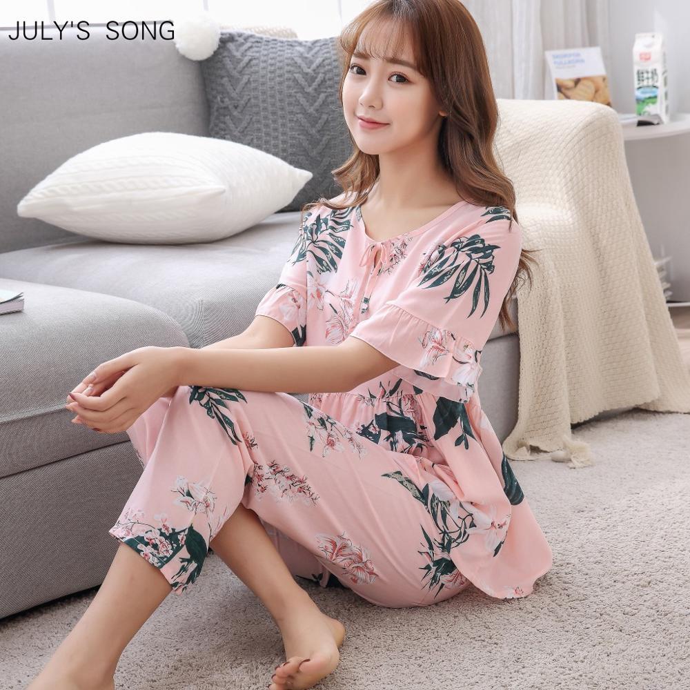JULY'S SONG Summer Printed Pajamas Set Women Casual O Neck Short Sleeve Nightwear Homewear Viscose Soft Comfortable Sleepwear