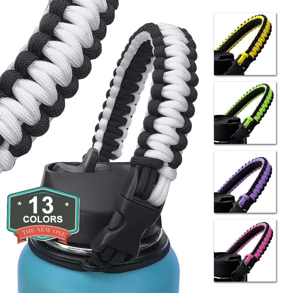 Handle Strap Cord With Safety Ring And Carabiner For Hydro Flask Wide Mouth Water Bottle For Hiking Camping Walkin
