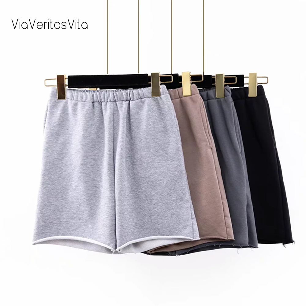 Summer New Womens Biker Shorts Elastic Waist Vintage Solid Gym Shorts With Pockets Female Casual Workout Short Joggers Camel