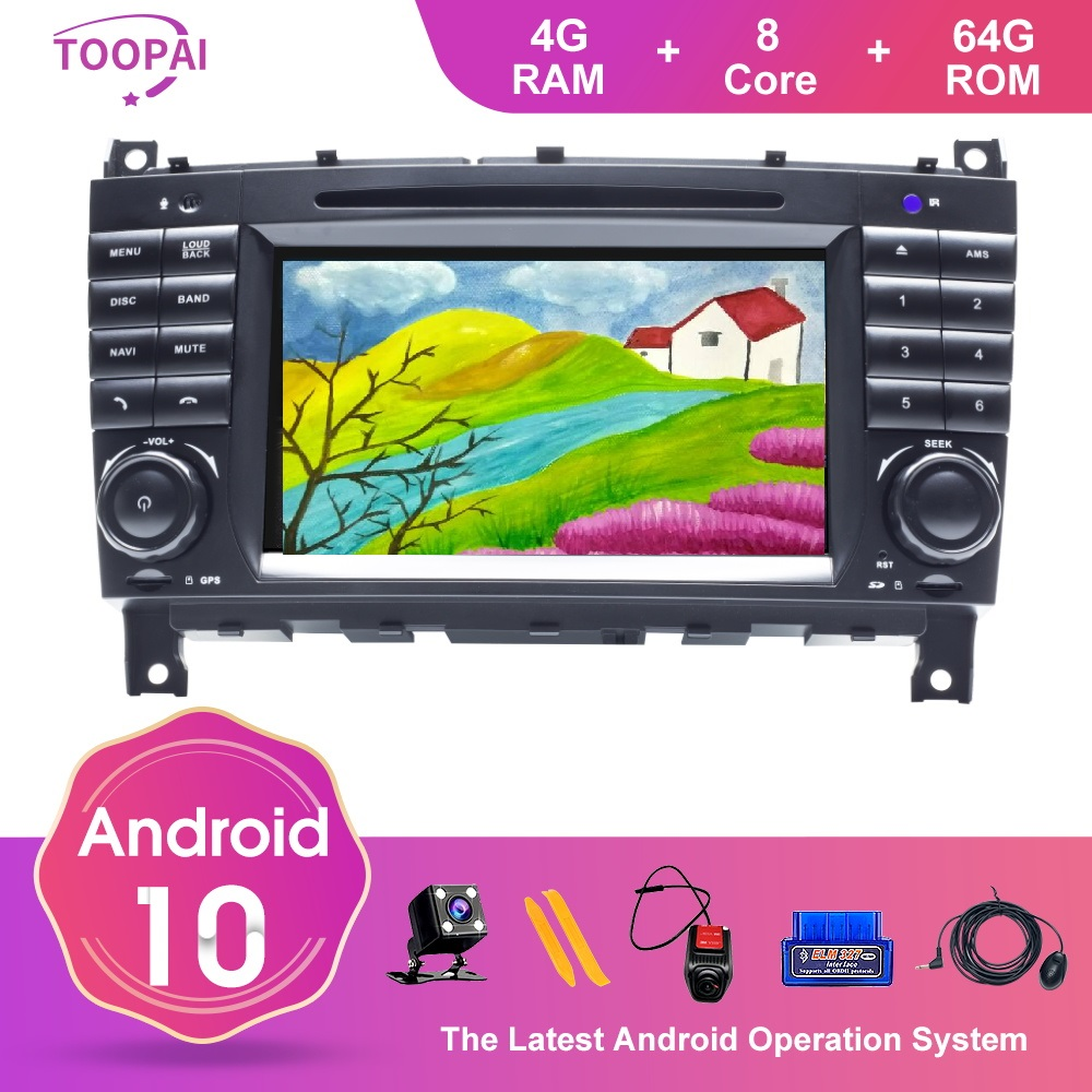 TOOPAI Android 10 For Mercedes Benz W203 CLK200 CLK22 C180 <font><b>C200</b></font> CANBUS 2005-2011 Car Auto Multimedia Player Radio Stereo SWC GPS image
