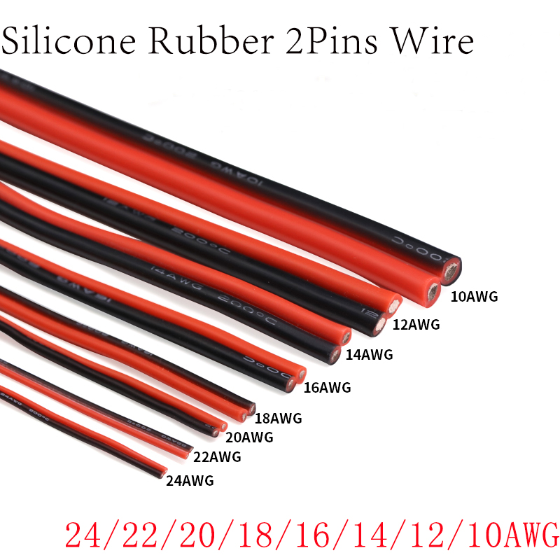 1 Meter 10 12 14 16 18 20 22 24 AWG 2Pins Ultra Soft Silicone Rubber Copper Electric Wire DIY Lamp Connector Cable Black Red