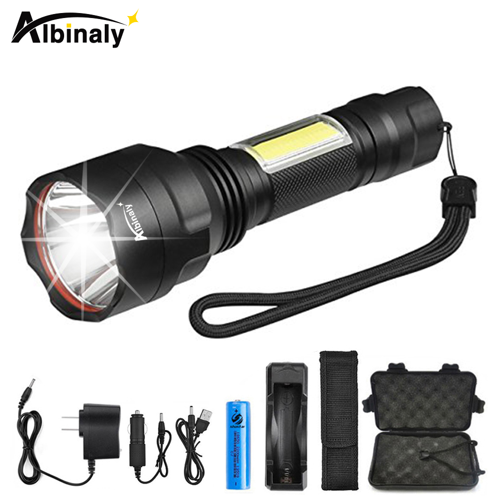Tactical LED Flashlight With Side COB Work Light Design Waterproof C8 Flashlight Torch Used For Cycling, Adventure, Camping,etc