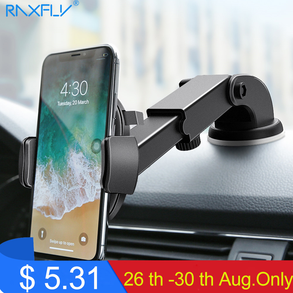 RAXFLY Luxury Car Phone Holder For iPhone X XS 8 7 Plus Windshield Car Mount Phone Stand Car Holder For Samsung S9Telefon Tutucu
