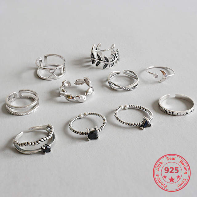 2020 Hot Sale 925 Sterling Silver Personality Mix Fashion Concise Retro Men And Women Vintage Adjustable Silver Ring