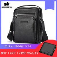 BISON DENIM Genuine Leather Men Bags Ipad Handbags Male Messenger Bag Man Crossbody Shoulder Bag Men's Travel Bags N2333