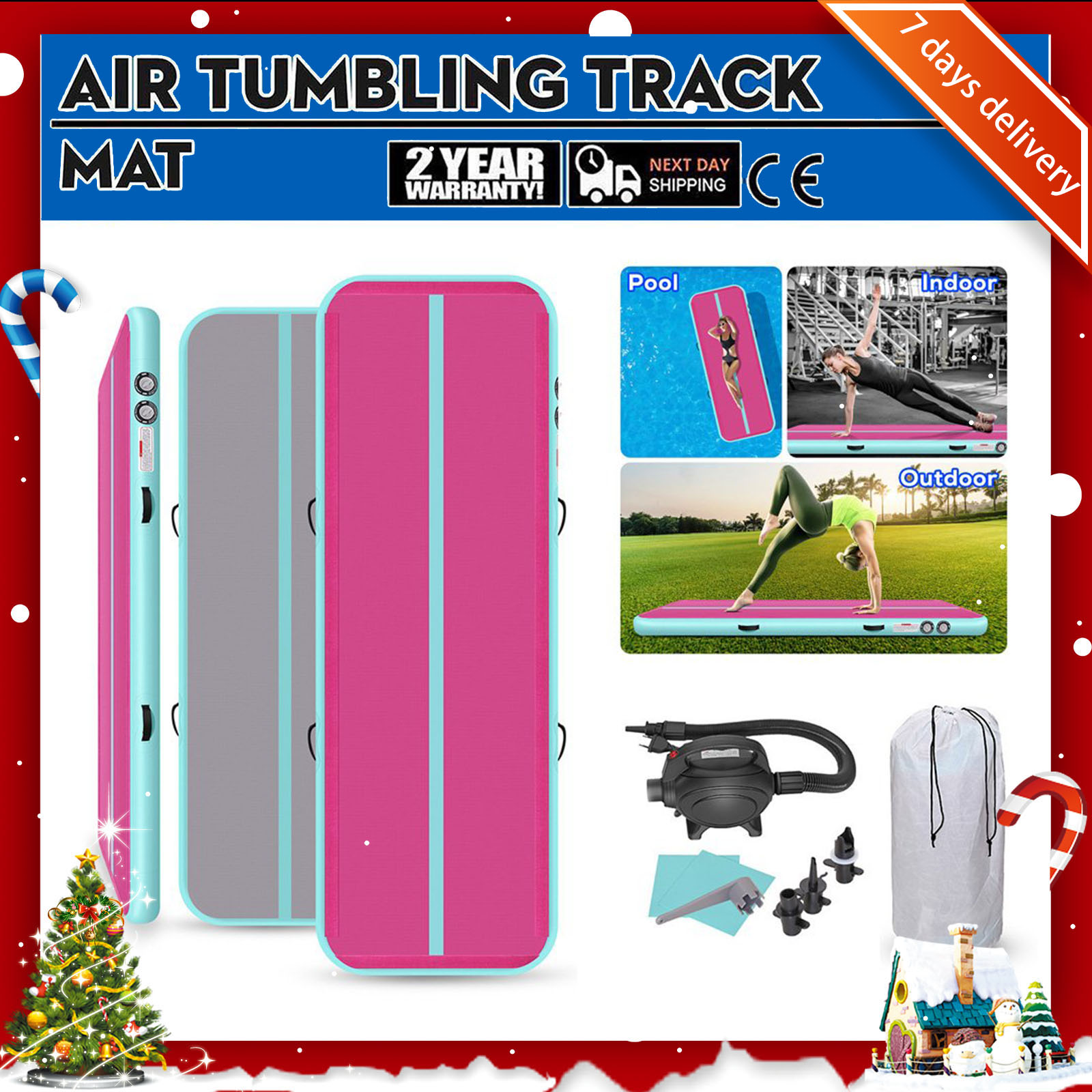 Rimdoc 4/5/6M Tumbling Air Track Floor Airtrack Inflatable Training/Cheerleading/Beach Olympics Gym Mat For Kids Birthday Gift