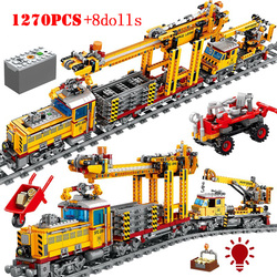 City Electric Track Train Vehicle Building Blocks Creator Technic Mechanical Rail Railway Track Figures Bricks Toys for Children