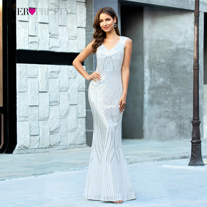 Sequined White Prom Dresses Long Ever Pretty Double V-Neck Sleeveless Draped Sexy Mermaid Formal Party Gowns Vestido De Festa