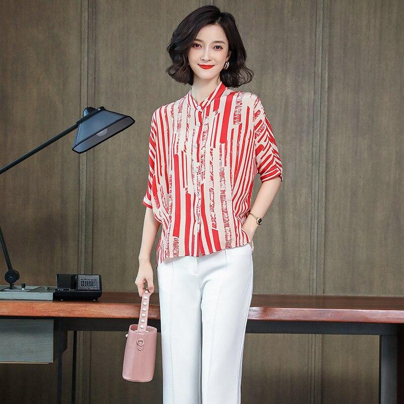 Blouses en soie florale dames bureau sexy décontracté rouge rayé fleur dessus de chemise 2019 été femmes grande taille livraison gratuite