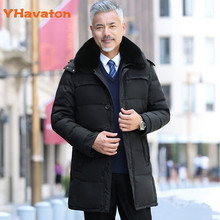 2019 New Winter Jacket Men Big Artificial Fur Collar Hooded Duck Down Jacket Thi