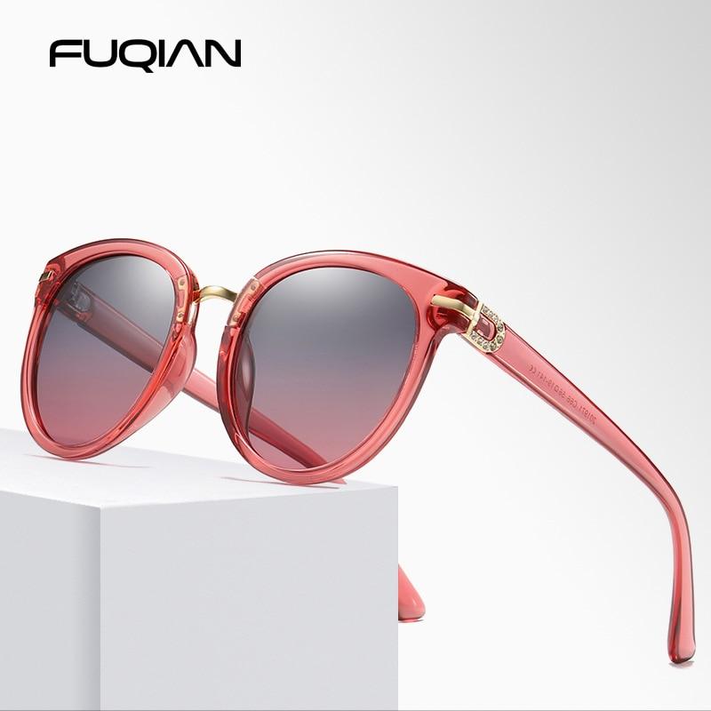 FUQIAN Brand Designer Stylish Cat Eye Polarized Women Sunglasses Classic Round Black Sun Glasses For Ladies Driving