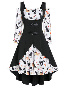 Wipalo Plus Size A Line Off The Shoulder Vintage Dress Cat Skull Print With High Low Top Fit And Flare Knee-Length Dress Vestido