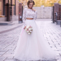 SATONOAKI Beach Wedding Dress Long Sleeves Lace Bride Dress 2 Pieces Princess Boho Wedding Gown Tulle Bridal Dress