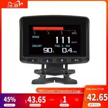A208 OBD2 حرارة المبرد مقياس أداة تشخيص ميزان الحرارة ساعة رقمية DC12 24V السيارات ساعة الفولتميتر جهاز قياس الجهد الكهربائي