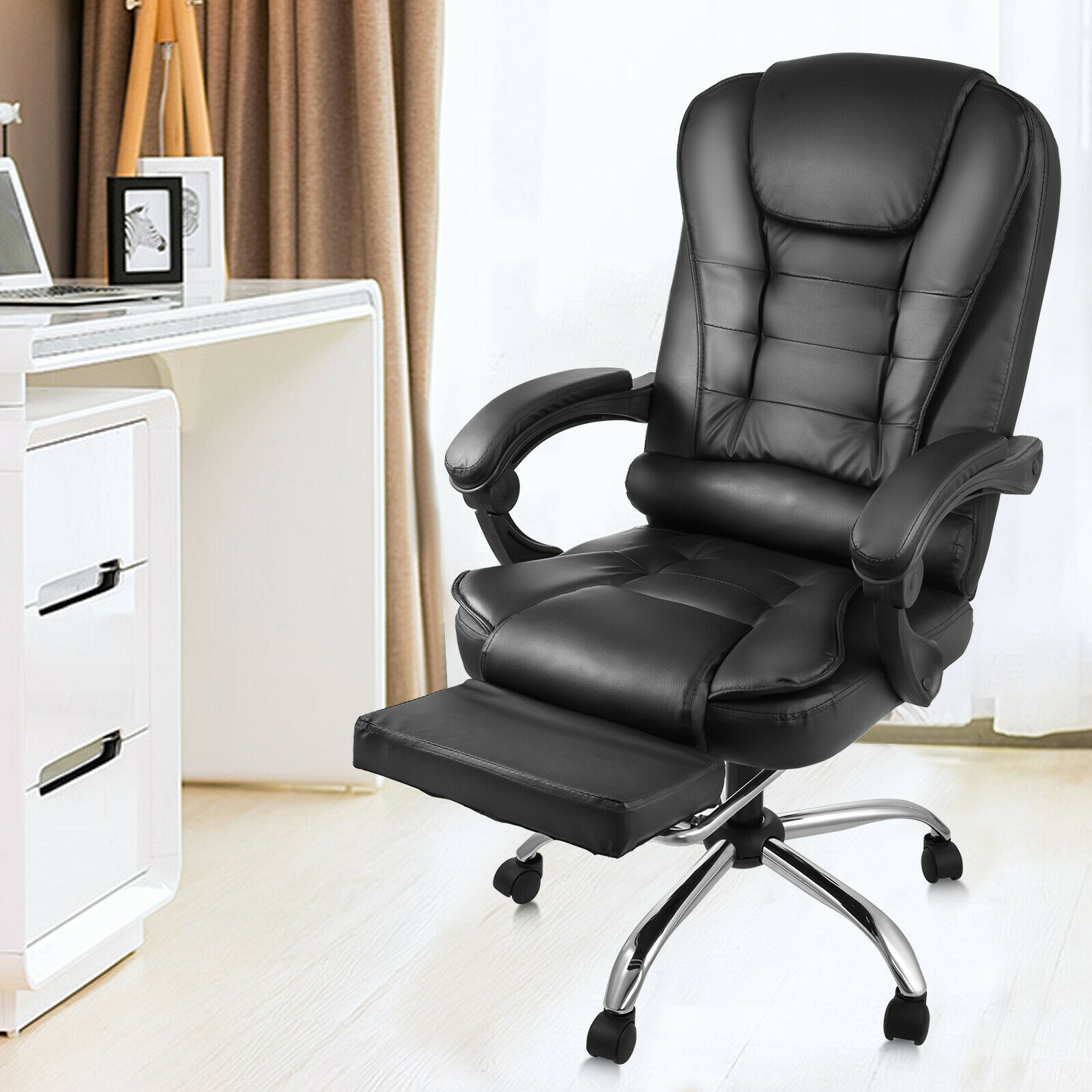 Office Chair Office Rolling Chair High Back Leather Executive Office Chair Desk Task Computer Chair W/ Footrest