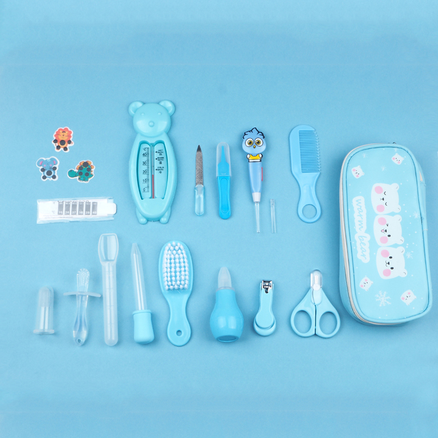 17Pcs Baby Health Care Kit Newborn Kid Care Baby hygiene Kit Grooming Set Thermometer Clipper Scissor Kid Toiletries for Baby