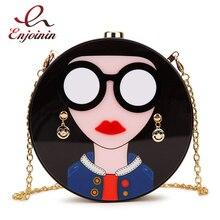 Fashion design cartoon sexy woman acrylic round shape party clutch bag evening bag female chain purse shoulder bag handbag flap