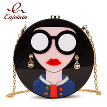 Chain Purse Clutch-Bag Handbag Shoulder-Bag Evening-Bag Round-Shape Acrylic Party Fashion-Design