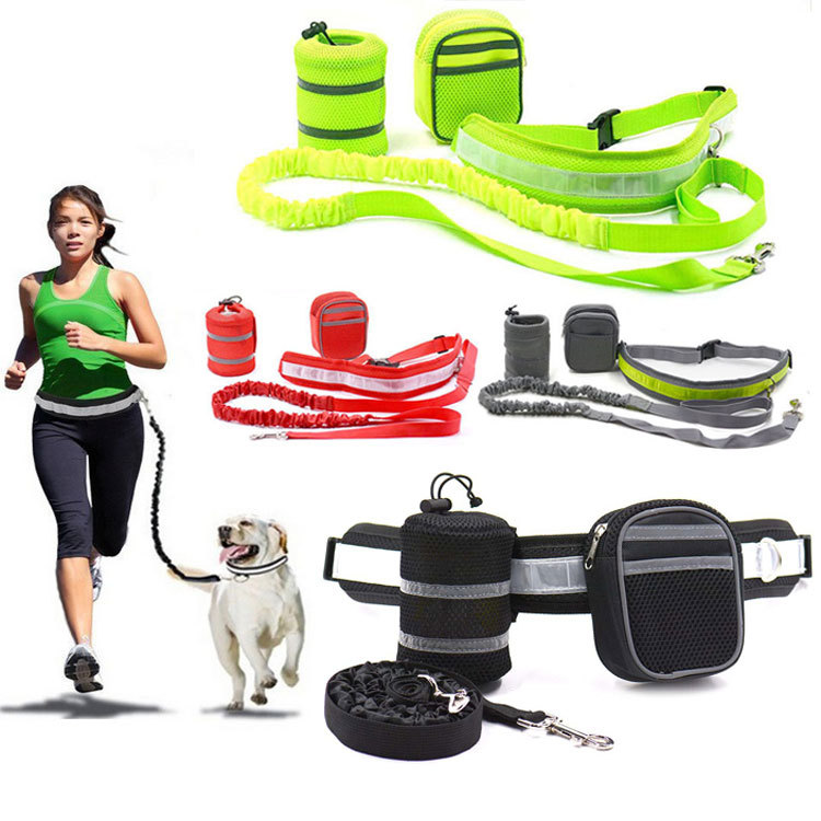 Industry Dog Running Hand Holding Rope Reflective Adjustable Belt With Water Bag Mobile Phone Key Elastic Caching Hand Holding R