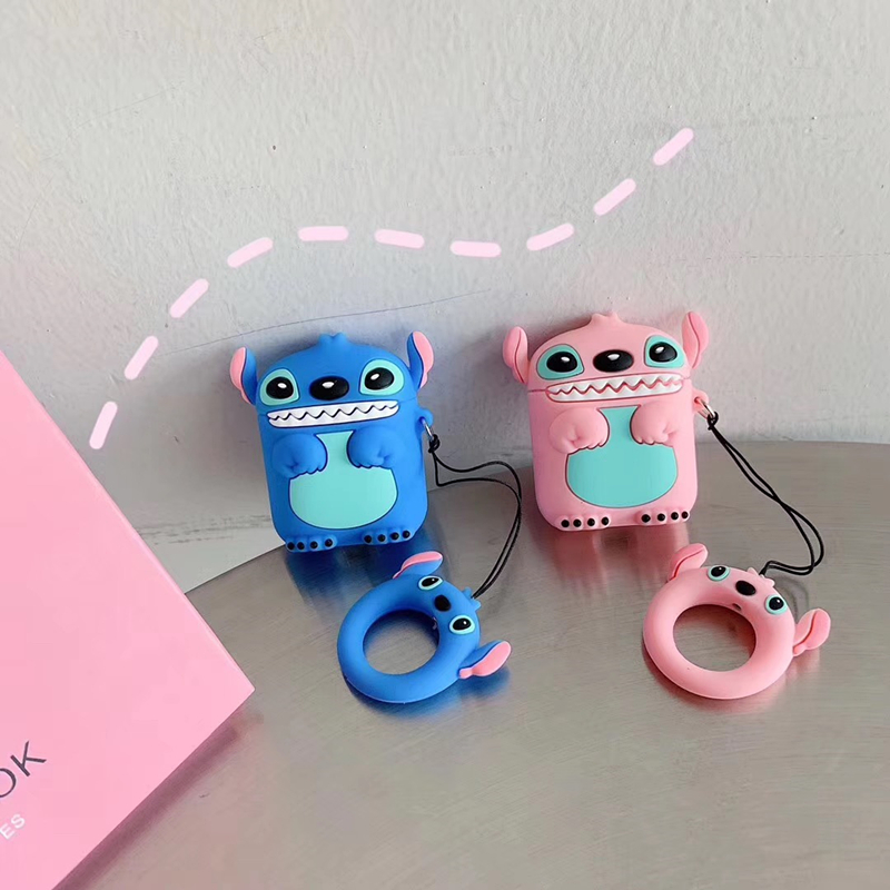 Super cute 3D Stitch cartoon silicone protection ring lanyard  Wireless Earphone Charging case for AirPods 1 2 Bluetooth cover