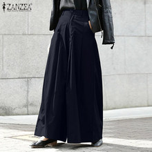 Women Casual Long Wide Leg Pants ZANZEA Summer Fashion High Waist Solid Trousers Work Palazzo Female Loose Pantalon Plus Size