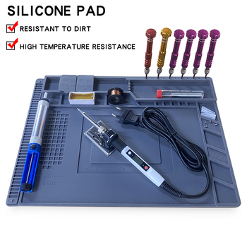 S-160 Silicone Pad Desk Platform 45x30cm for Soldering Station Iron Phone PC Computer Repair Mat Magnetic Heat Insulation - discount item  28% OFF Tool Sets