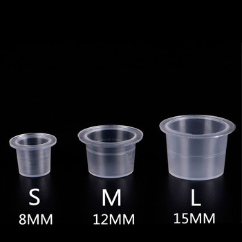 100 Pieces Disposable Tattoo & Permanent Makeup Pigment Ink Caps Cups Large Medium Small Size